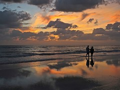 Sunset Strolling (Deepgreen2009) Tags: reflection gulfofmexico evening colours florida madeirabeach