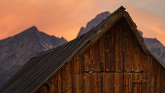 Early Bird (Brian Truono Photography) Tags: ranch door hinge wood travel autumn roof light sky mountains building bird history fall nature clouds barn sunrise us wooden nationalpark unitedstates nps moose structure historic ridge frame settlers homestead mormon wyoming grandtetons swallow nationalparkservice roofline pioneer moulton mormonrow grosventre bluebarnswallow