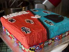 Captain America (Theweird1ne) Tags: blue red white black cake dc comic spiderman ironman superman comicbook superhero batman icing thor marvel captainamerica dairyfree