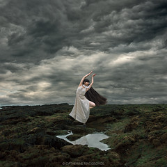 And then the storm rolled in (CatherineMacgeorge) Tags: ocean uk sea sky storm art beach girl rain rock composition hair square grey coast dance skin wind fine devon concept conceptual thunder rockpool dawlish