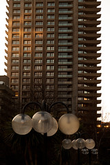 High-Rise sunset | Barbican at sunset-2 (Paul Dykes) Tags: uk sunset england london architecture modernism barbican lamppost modernistarchitecture brutalism modernist brutalist cityoflondon barbicancentre