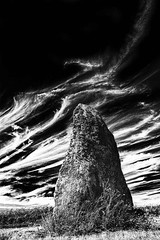 brittany monolith1 low key (photoautomotive) Tags: sky blackandwhite bw france history monument monochrome grass rock stone clouds canon french europe historic 5d lowkey prehistoric monolith 1740l quiberon 5dclassic