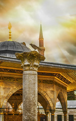 crow; istanbul_turkey (eks-i zb) Tags: sunset cloud sun turkey istanbul mosque crow sophia haghia
