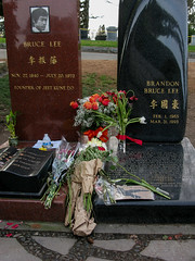 Bruce and Brandon Lee (prima seadiva) Tags: flowers tombstone graves brucelee chs lakeviewcemetery brandonlee march311993