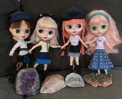 Girls checking out the rock collection