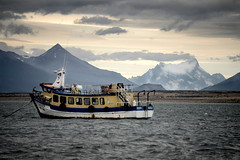 Boat in the waters of Puerto Natales, Chile (Damon Tighe) Tags: chile parque patagonia mountains clouds america puerto boat foreboding south waters rough nacional natales