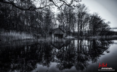Old boat shed on the Loch of the Lowes...(Black & White) (leeb.black) Tags: old white black boat shed loch lowes