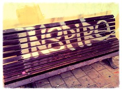 Where my benches at? (www.InspireCollective.com) Tags: city wet silver bench painting paint seat tel aviv inspired down chrome sit benches inspire allmybenches