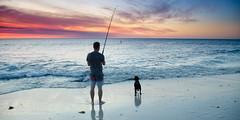 Sunset & Fishing (JamieMarie Oaksford) Tags: sunset dog landscape photography seaside fishing australia s westernaustralia waterwater seawater calmsea oceanscape australiasunset beachphotography nikond7000 jindaleebeach