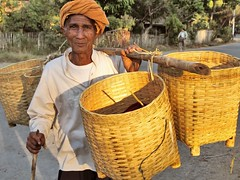 Nyaung Shwe - Farmer (sharko333) Tags: voyage portrait people man asia asien basket burma olympus vehicle myanmar inlelake asie birma reise shanstate ravel em5 lakeinle nyaungshawe