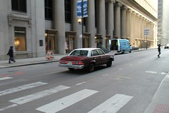 Past The Colonnade (Flint Foto Factory) Tags: city morning urban white chicago motion classic chevrolet metal sedan moving illinois am spring gm downtown loop top burgundy district painted platform jackson malibu chevy april lasalle intersection rushhour friday financial 1979 icm abody generalmotors in intermediate 2016 midsize rwd 4door downsized