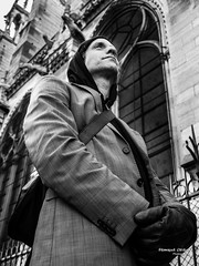 Street - A new gargoyle at Notre Dame de Paris (Franois Escriva) Tags: street people bw white man black paris france photo noir candid streetphotography olympus nb notredame gargoyle notre dame rue blanc omd