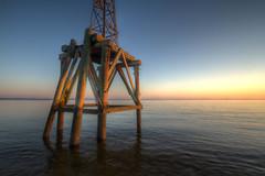 Aid to Navigation (MichaelSOwens) Tags: morning sunrise dawn florida poles atlanticocean hdr fernandinabeach woodenbeams ameliaisland channelmarker redrightreturning metaltower aidtonavigation stmarysinlet