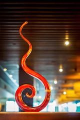Glass ornament in Japengo, Waikiki (Victor Wong (sfe-co2)) Tags: red orange usa glass cuisine hawaii restaurant waikiki traditional meals ornament hawaiian honolulu japengo familystyle entrees hyattregencyhotel