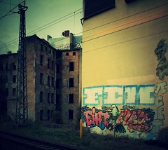 Passing through the ghetto 1 (Jrn Pachl) Tags: urban streetart brick abandoned graffiti decay magdeburg aviary deviantart decline ghetto slums burnouts pancakelens olympusep1 ruinporn avenuefilter