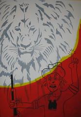 The last lion. (tonitonim) Tags: africa wild art animal last comics arte bad lion pop hunter leone brut acrilico acrilyc cacciatore fucile tonim tonitonim marcovecchio braconiere