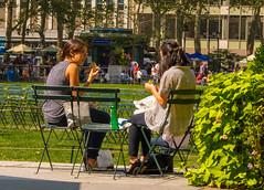 Girls Talk (bart7jw) Tags: park new york autumn summer newyork fall sunshine canon lunch chat talk sigma sit bryant 18250 700d t5i