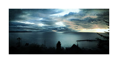 Distance (ra1000) Tags: sunset sky texture water clouds landscape bc whiterock iphone semiahmoobay