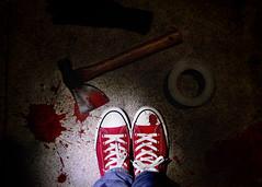 Dispute Resolution (YetAnotherLisa) Tags: portrait mystery night self blood crime axe flashlight 365 ax chucks hatchet crimescene dispute convers day13366 366the2016edition 3662016 yetanotherlisa2016 13jan16 week2dark