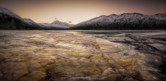 Dirty Ice (Traylor Photography) Tags: winter lake snow mountains cold nature alaska sunrise landscape outdoors frozen anchorage eklutna dirtyice