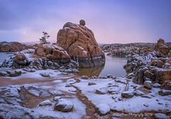 Soft Blanket (TreeRose Photography) Tags: morning trees winter arizona snow cold reflection water clouds sunrise rocks prescott watsonlake rockformations granitedells