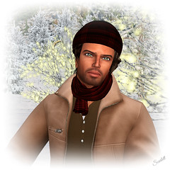 Snow Man (scarlettelizabet) Tags: winter snow fashion sl secondlife beret