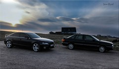 Audi A4 and Audi 90 (Ivan Reid) Tags: new old sunset a4 audi 90 shetland whalsay houll