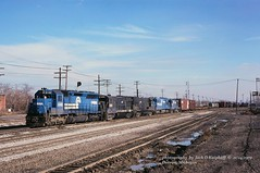 CR 6148-2838-2747-6849-2831,DELA-3,Detroit, MI. 11-24-1979 (jackdk) Tags: railroad train pc detroit railway locomotive ge cr freighttrain detroitmichigan conrail sd45 emd penncentral u33c u23b u30b gelocomotive emdsd45