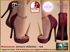 Bliensen - Monoceros - Unicorn stilettos - red Kopie (Plurabelle Laszlo) Tags: shoes pumps highheels secondlife horn unicorn enchantment belleza stilettos tmp maitreya slink bliensen themeshproject