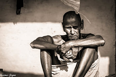 The old man (karmajigme) Tags: old travel portrait blackandwhite india man monochrome nikon noiretblanc human varanasi