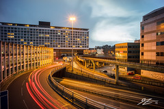 To Lose Yourself In Tarmac Dreams (Tim van Zundert) Tags: park light england car tarmac night newcastle concrete evening long exposure motorway sony voigtlander north trails tyne wear east infrastructure roads dual 55 upon degrees 21mm carriageway a167 ultron a7r