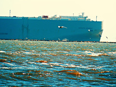 Adriatic Highway (West Beach Sunset) Tags: gulfofmexico water nikon waves ship texas cargo coolpix february navigation shipchannel texasgulfcoast graniterocks coastalphotos northjetties picmonkey nk004