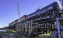 Don't Trip (Tony Tomlin) Tags: railroad trestle crescentbeach bnsf tankcars gevo es44ac crescentbeachmarina