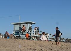 beach life in santa monica (squeezemonkey) Tags: california sky beach locals santamonica bathers lifeguardhut