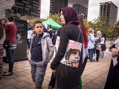 Before the Syrian crisis, Palestinians were Europe's most iconographic refugees. Brussels solidarity protest, August 2014. (joelschalit) Tags: brussels children freedom israel women war palestine muslim islam protest hijab bruxelles demonstration arab independence schaerbeek gaza