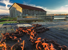 The Chain (NW Vagabond) Tags: light abandoned golden washington chains rusty chain hour cannery