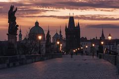 Prague - Charles Bridge (claudecastor) Tags: bridge rot tower statue architecture sunrise nightshot prague capital hauptstadt prag praha tschechien architektur czechrepublic brcke laterne turm charlesbridge sonnenaufgang trme nachtaufnahme karlvmost karlsbrcke strasenlampe