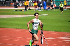 Sam runnning fine in the DMR (Malcolm Slaney) Tags: track stanford paloalto dmr 2016 paly stanfordinvitational distancemedleyrelay stanfordtrackinvitational
