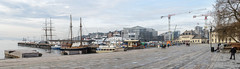 Aker Brygge - Panorama (Sigurd R) Tags: morning sea panorama oslo norway port docks boats boat norge spring stitch harbour no akerbrygge fjord mosaique vestbanehallen nobelcentre
