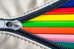 A Bag of Colors (ElleFlorio) Tags: hinge pink blue red orange macro green colors pencil bag lens colorful case zipper reverse cloth monday zip reverselens macromondays lucaflorio