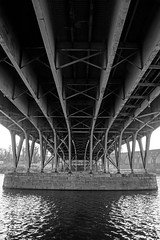 Under a Bridge over the Schuylkill (nydavid1234) Tags: bridge shadow blackandwhite bw water monochrome architecture reflections river nikon engineering symmetry chiaroscuro girders schuylkill d600 nydavid1234