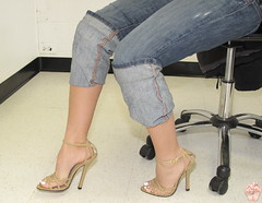 Stilettos and Jeans (Jaylynn's Best Feeture) Tags: sexy feet female toes highheels arches jeans toering ankles footfetish heelfetish jeanshighheels