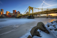Winter In The City (Brad Truxell) Tags: city bridge winter sunset snow cold ice river frozen pittsburgh hdr alleghenyriver sigma1020mm nikond7000