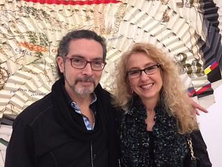 Karim Borjas and Annette Turrillo at Doris Salcedo's opening