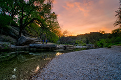 Spring sunset (Jim Nix / Nomadic Pursuits) Tags: sunset water creek austin reflections rocks texas sony hike trail photowalk hdr goldenhour bullcreek lightroom bullcreekgreenbelt nomadicpursuits jimnix sonya7ii aurorahdrpro