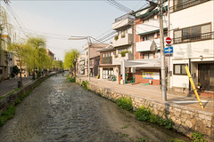 kyoto-0942-ps-w (pw-pix) Tags: street trees houses plants signs japan creek buildings river lights canal weeds kyoto bridges drain wires shops poles narrow dwellings nearhigashiyamastation doinouchicho