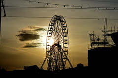 Ferris Wheel (emilyjaanexo) Tags: sunset nature beautiful wheel silhouette clouds spring fair ferris blackpool edit