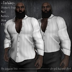 [ new release - striped business shirt ] ([ sithas ]) Tags: pink blue red white man black male men adam shirt purple mesh release gray formal cream secondlife standard unbuttoned striped tmp aesthetic newrelease buttonup slink rolledupsleeves businessshirt malefashion rolledsleeves texturechange sithasslade niramyth themeshproject meshbodies