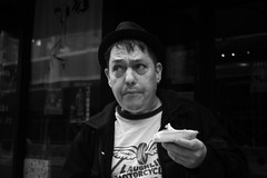 Years on the LES (runatail) Tags: newyorkcity portrait people urban blackandwhite man monochrome outside manhattan candid lowereastside citylife streetphotography canon5d runatail