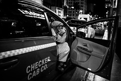 Cab Waiting (Val Blakely) Tags: street blackandwhite monochrome waiting moments taxi streetphotography streetlife